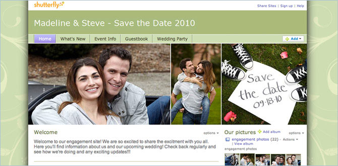 Announce your engagement on your personal wedding website