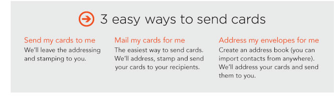 3 EASY WAYS TO SEND CARDS. SEND MY CARDS TO ME. MAIL MY CARDS FOR ME. ADDRESS MY ENVELOPES FOR ME.