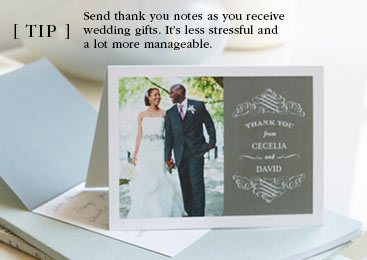 TIP: Send thank you notes as you receive wedding gifts.  It's less stressful and a lot more manageable.